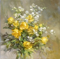 Розы и фреезия. (2015 г) 45х45 (холст/масло)