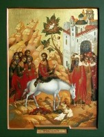 Entry of the Lord in Jerusalem. (Wood, gesso, tempera and gold leaf)