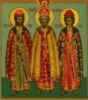 St. Prince Vladimir, Boris and Gleb. (Wood, gesso, tempera and gold leaf)