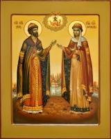 Святые Петр и Феврония. (2015 г) 50х40 (дерево, левкас, масло, сусальное золото)