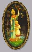 Plate Golden Apples. (wood, oil, pearl, gold leaf, varnish)