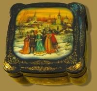 Casket Snow Maiden. (wood, oil, pearl, gold leaf, varnish)