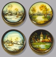 A series of boxes Russian Landscape. (wood, oil, pearl, gold leaf, varnish)
