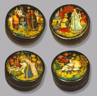 A series of boxes Russian Fairy Tales. (wood, tempera, gold leaf, varnish)