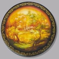 Plate Golden Light. (wood, oil, pearl, gold leaf, varnish)