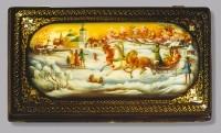 Box On Shrove Tuesday. (wood, oil, pearl, gold leaf, varnish)